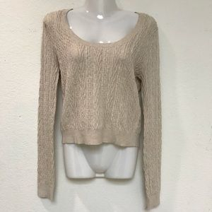 Free People crewneck cable knit cotton sweater L